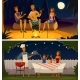 Night Barbecue Party Cartoon Retro Banners