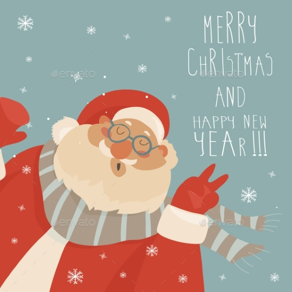 Vector Christmas Card with Santa Claus