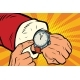 Santa Claus Shows the Clock Nearly Midnight