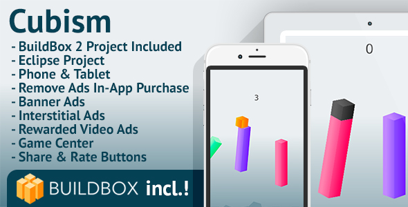 Cubism: Android, BuildBox Included, Easy Reskin, AdMob, RevMob, HeyZap, Remove Ads