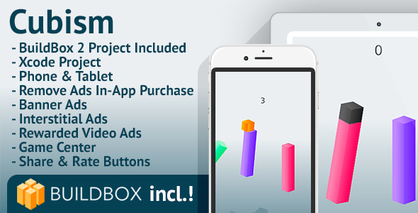 Cubism: iOS, BuildBox Included, Easy Reskin, AdMob, RevMob, HeyZap, Remove Ads - CodeCanyon Item for Sale