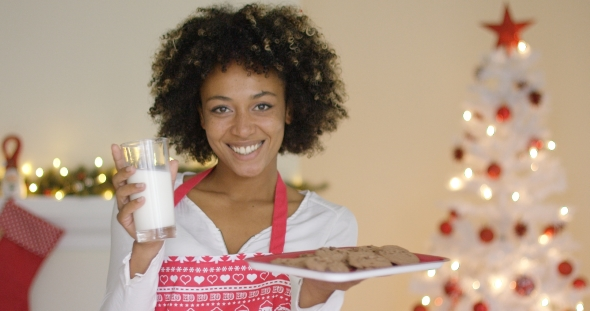 Download Happy Young Woman with Milk and Cookies for Santa nulled download