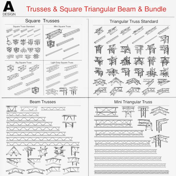 Trusses Square Triangular Beam Bundle - 3DOcean Item for Sale