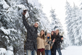Man Hold Smart Phone Camera Taking Selfie Photo Friends Smile Snow Forest Young People Group Outdoor