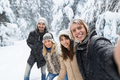 Man Taking Selfie Photo Friends Smile Snow Forest Young People Group Outdoor