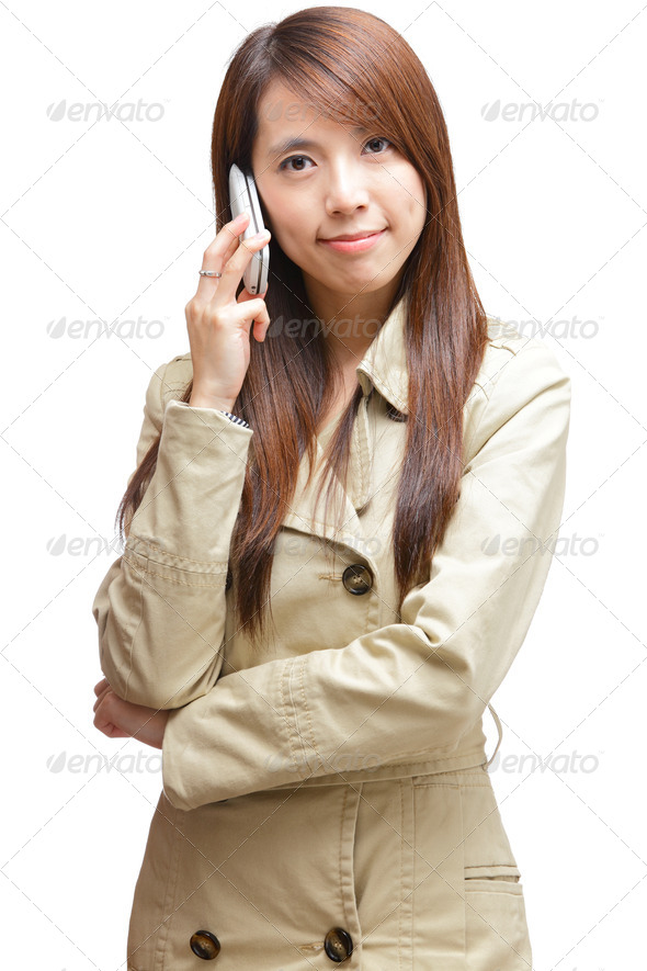 asian woman on phone call - Stock Photo - Images