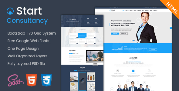 Consulting One Page Website Templates from ThemeForest