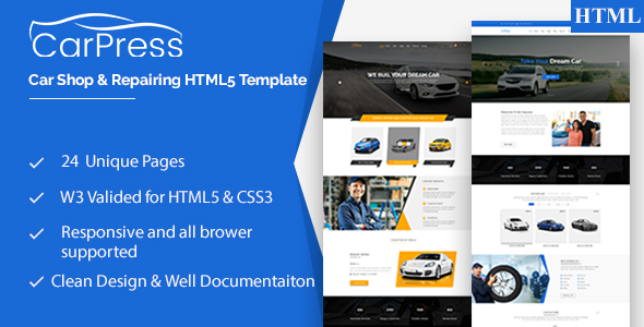 CarPress || For Car or truck Shop and Car or truck Repiar HTML5 Template (Retail)