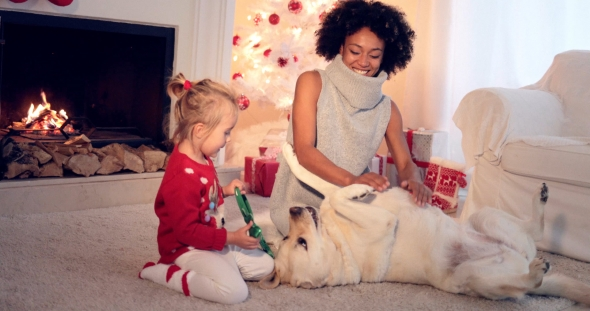 Download Mom and Daughter in Sweaters Play with Pet Dog nulled download