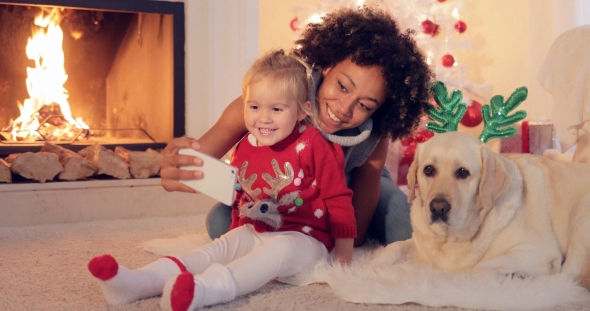 Download Happy Family Selfie Portrait at Christmas nulled download
