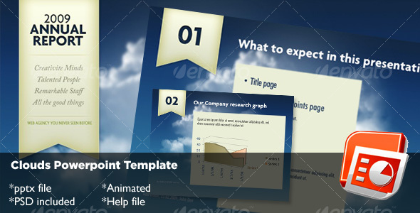Clouds Powerpoint Template - Business Powerpoint Templates