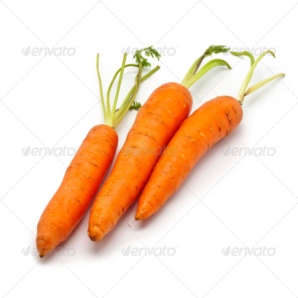 Fresh Carrots on White Background - Stock Photo - Images