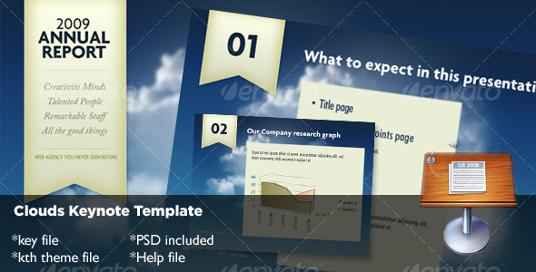 Clouds Keynote Template - Creative Keynote Templates