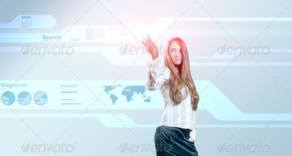 Lady touching hi-tech - Stock Photo - Images