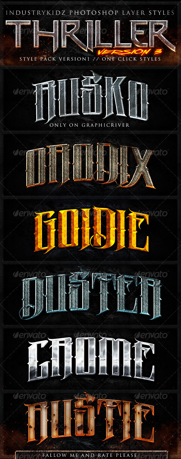 Thriller Photoshop Layer Styles V3 - Text Effects Styles