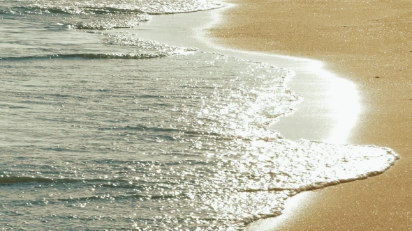 VideoHive Soft Sea Waves Rushing on Sandy Beach on Sunset 19051935