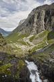 Norwegian mountain road. Trollstigen. Stigfossen waterfall. Norway tourist landscape