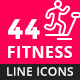 Fitness, Sport and Healthy Lifestyle Line Icons