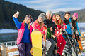 People Group With Snowboard And Ski Resort Snow Winter Mountain Cheerful Taking Selfie Photo