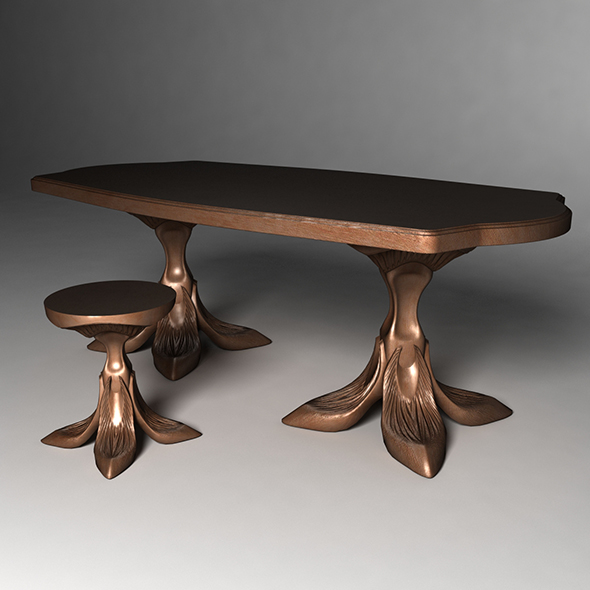3DOcean dining table and stool 19058439