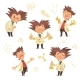 Stereotypic Bushy Haired Mad Professor Wearing Lab