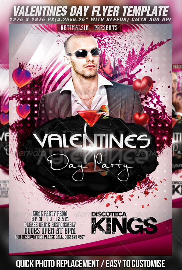 Valentines Day Party Flyer Template v.2