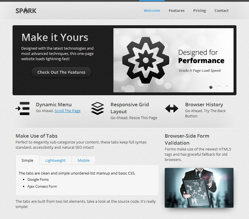 Spark - A Responsive One-Page HTML5 Website