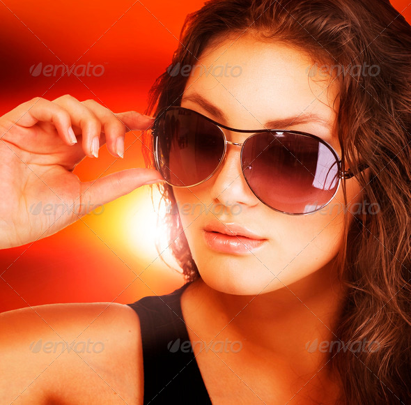 Beautiful Fashion Woman Wearing Sunglasses - Stock Photo - Images