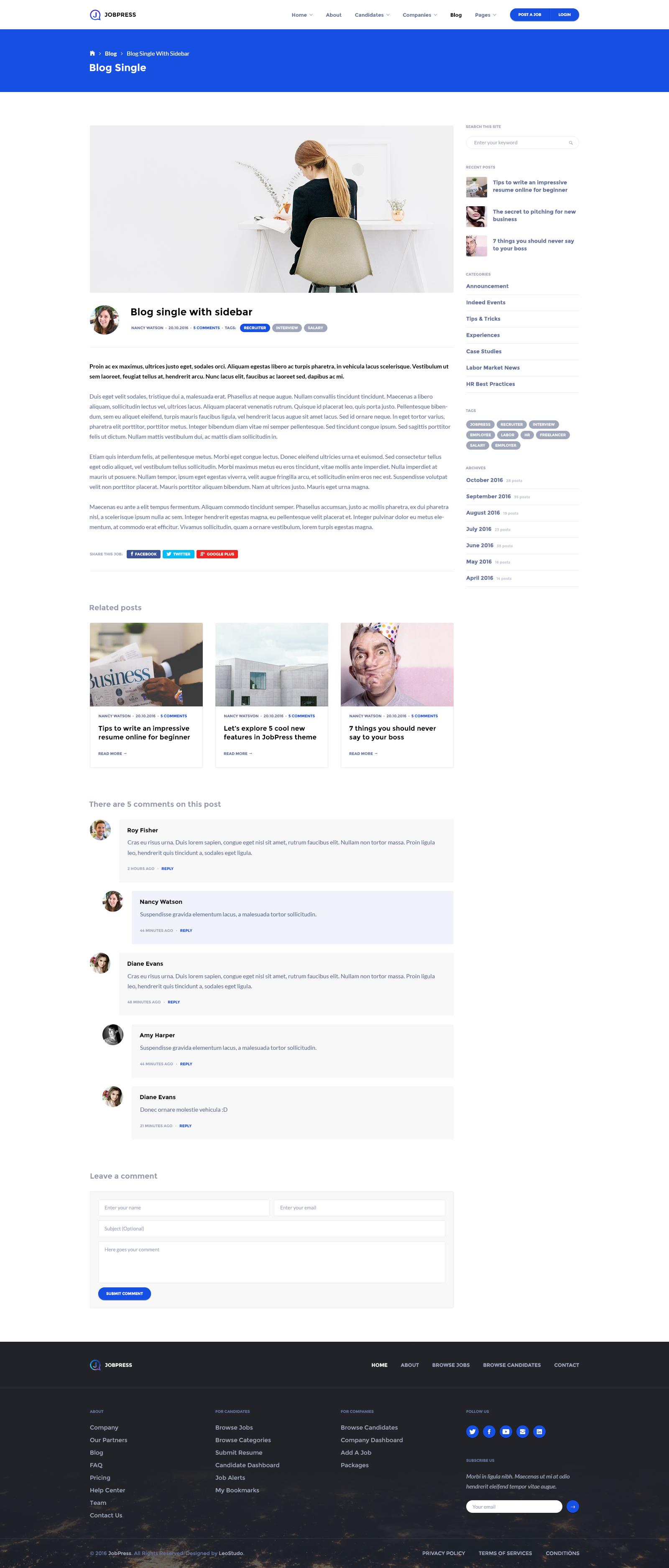JobPress – Job board PSD template is made for job seeker/head hunter ...