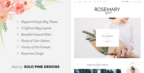 01 Preview.  large preview - Rosemary - A Responsive WordPress Blog Theme
