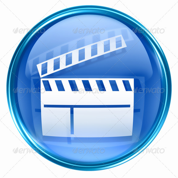 movie clapper board icon blue, isolated on white background. - Stock Photo - Images