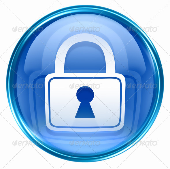 Lock icon blue, isolated on white background. - Stock Photo - Images