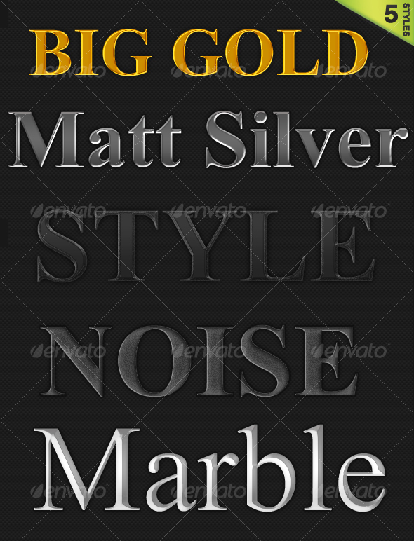 5 Styles Pack  - Text Effects Styles