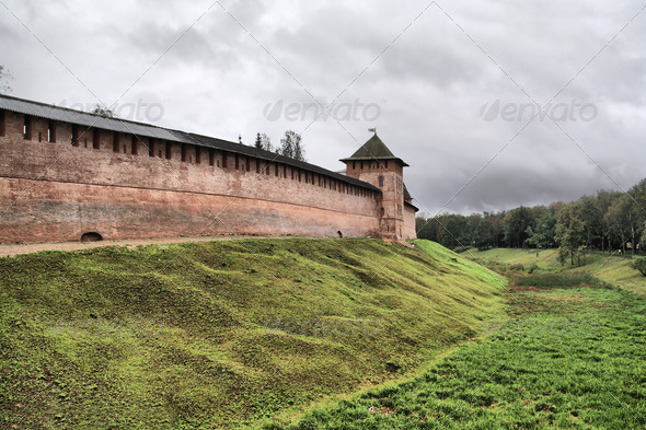 ancient fortress on small hill, hdr - Stock Photo - Images