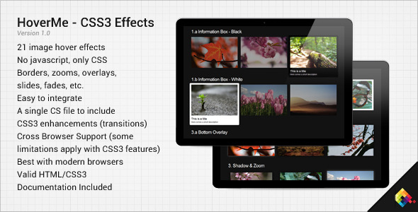 CodeCanyon HoverMe Collection of CSS3 Hover Effects 135944