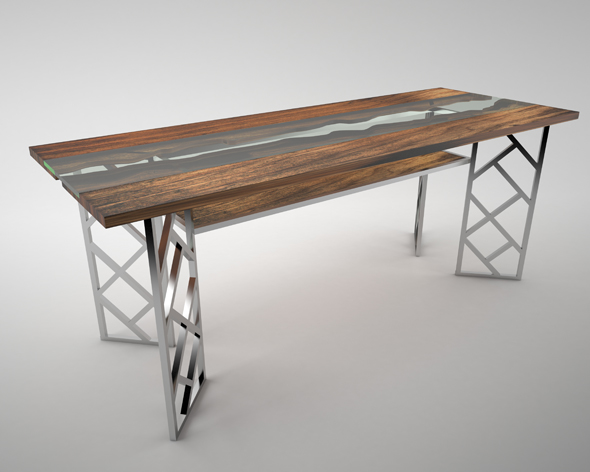 Live Edge - Wooden Glass Table - 3DOcean Item for Sale
