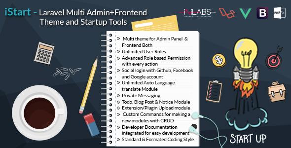 iStart - Laravel Multi Admin+Frontend Theme and Startup Tools