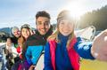 Group Of People Ski Snowboard Resort Winter Snow Mountain Happy Smiling Friends Taking Selfie Photo