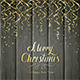 Golden Christmas Tinsel on Black Wooden Background