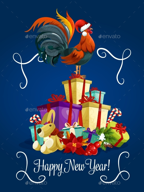 Happy New Year Card with Rooster Cock