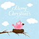 Christmas Background with Pink Bird
