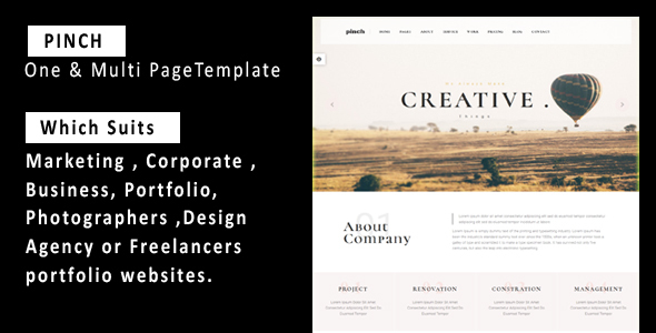 Pinch - One & Multi Page Responsive  Portfolio , Corporate, Business, Creative  & Blog Template