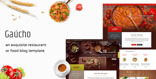 01 gaucho joomla preview.  large preview - Restaurant, Cafe & Food Menu Joomla Template - Gaucho