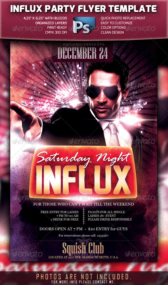 Saturday Night Influx Party Flyer - Clubs & Parties Events
