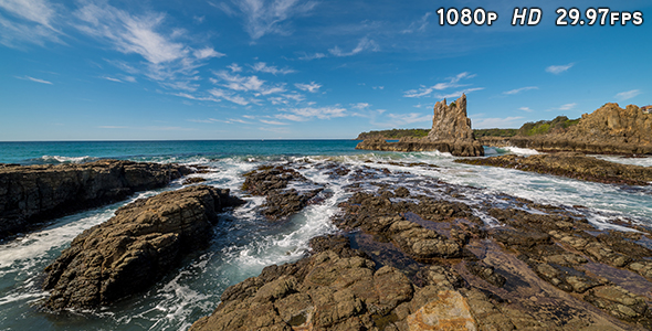 VideoHive Waves Breaking at Cathedral Rocks 19079293