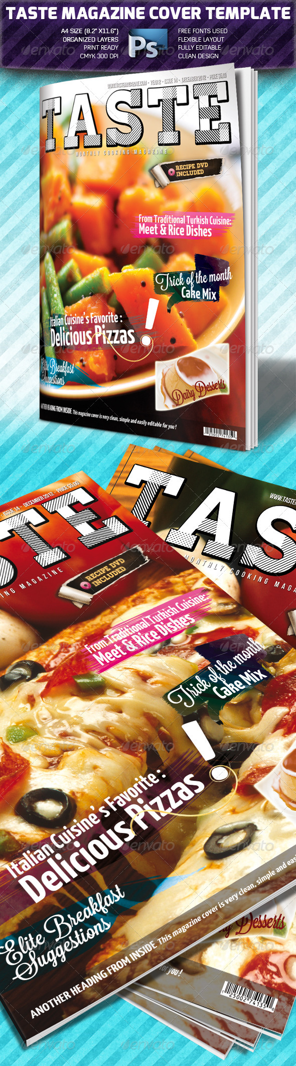 Taste A4 Magazine Cover Template - Magazines Print Templates