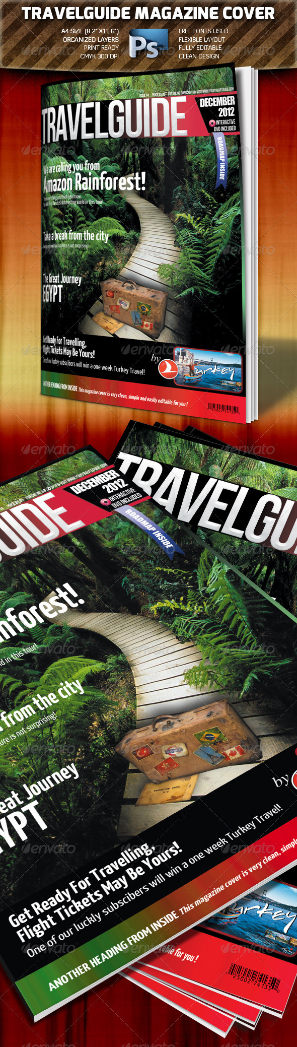 Travel Guide Magazine Cover - Magazines Print Templates