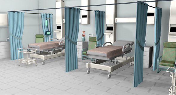 3DOcean Hospital room and corridor 19081326