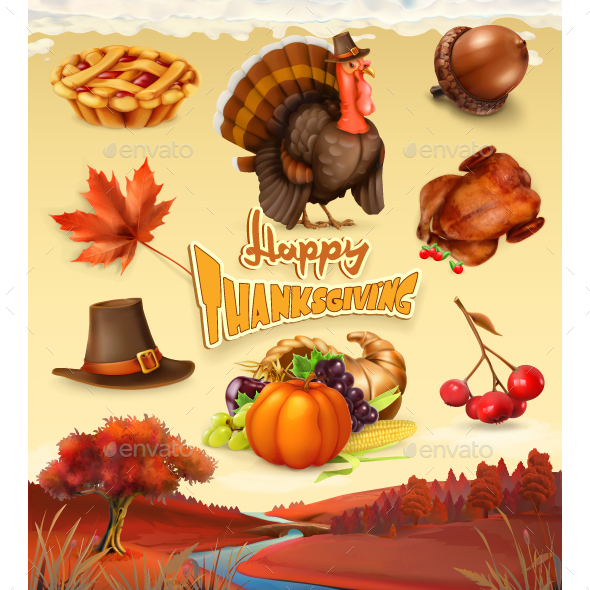 Happy Thanksgiving Cartoon Set