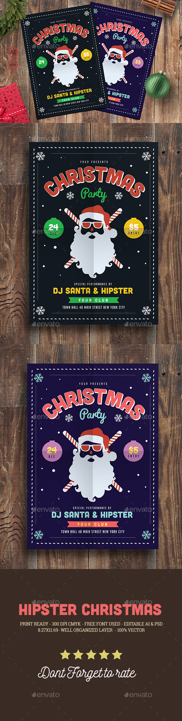 Hipster Christmas Party Flyer